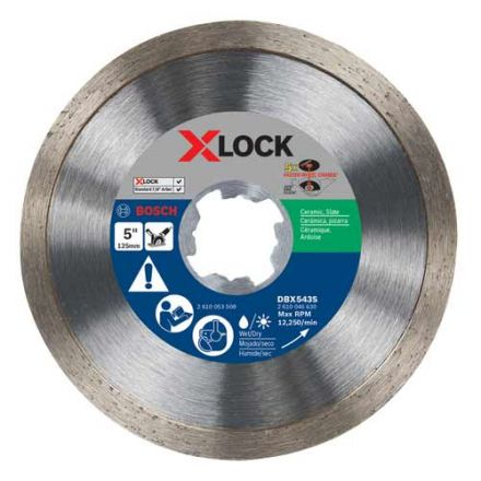 Bosch DBX543S 5 Inch X-LOCK Continuous Rim Diamond Blade (5 Pack)