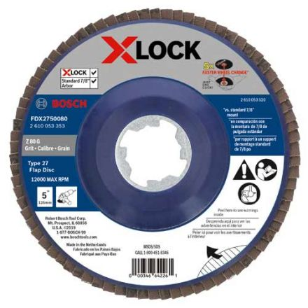 Bosch FDX2750080 5 Inch X-LOCK Arbor Type 27 80 Grit Flap Disc (10 Pack)