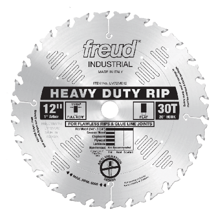 Freud LM72M012 12 Inch Diameter x 30T FLAT Heavy-Duty Rip Carbide-Tipped Saw Blade with 1 inch Arbor