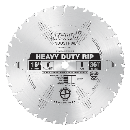 Freud LM72M016 16 inch Diameter x 36T FLAT Heavy-Duty Rip Carbide-Tipped Saw Blade with 1 inch Arbor