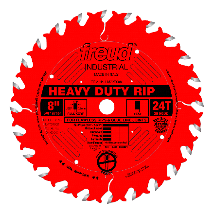 Freud LM72R008 8 Inch 24 Tooth FTG Ripping Saw Blade with 5/8-Inch Arbor and PermaShield Coating